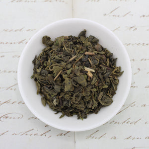 View from above of green tea with mint