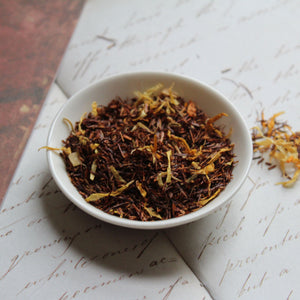 dish of pineapple and lemon rooibos tea