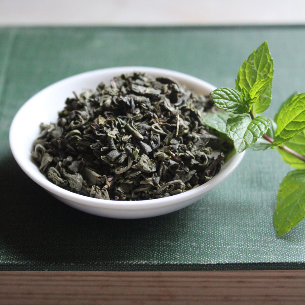 Dish of Green Tea with Mint