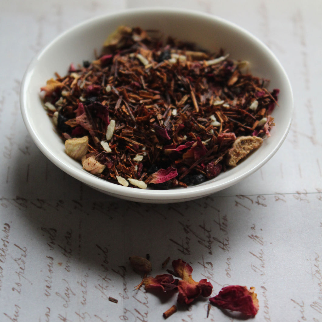 Dish of rhubarb and raspberry rooibos tea