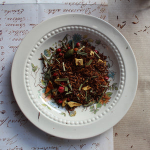 Spicy Lemon Rooibos tea on floral plate