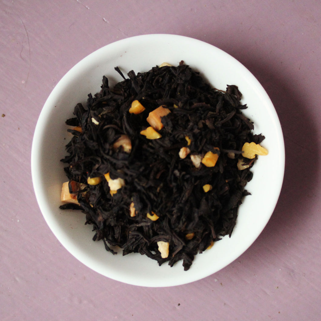 Dish of salted caramel black tea