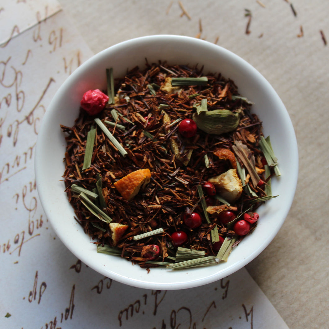 dish of spicy lemon Rooibos tea