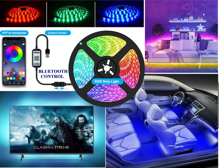 LED Strip Lights USB 4 Meter 5050 RGB Color Light TV BLUETOOTH Control Lighting UK