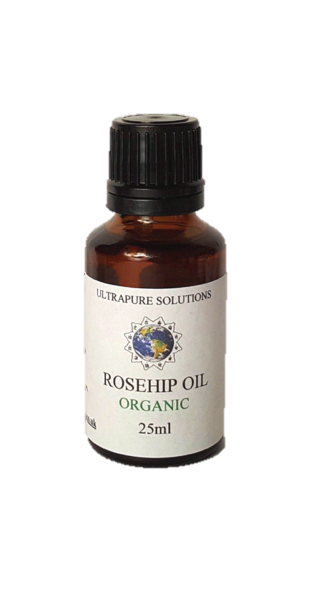 25ml Organic Rosehip Oil Certified Pure - Cold Pressed - Pipette Or Dropper Cap - Ultrapure Solutions