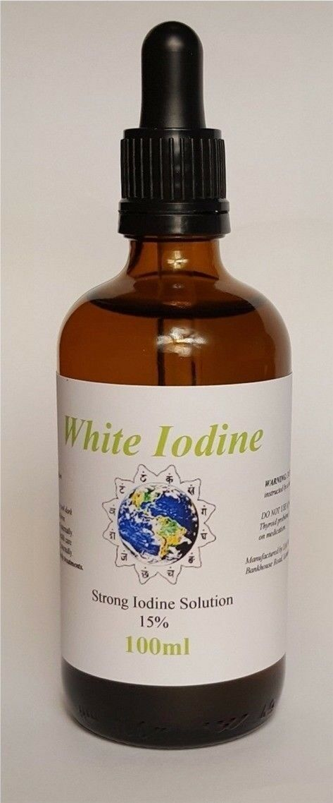 100ml White Iodine Solution - 15% Max Strength - Best Original - Decolourised - Ultrapure Solutions