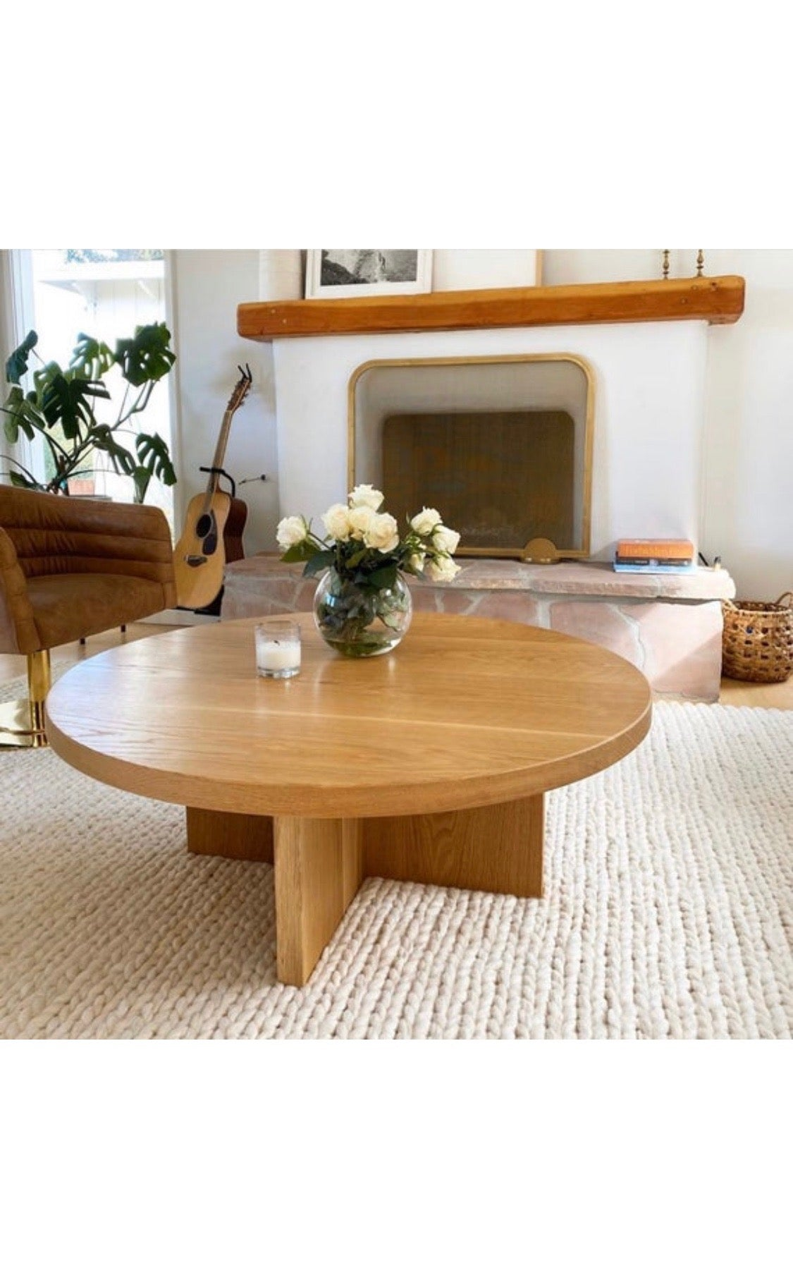 Round White Oak Coffee Table