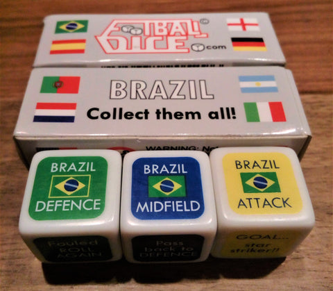 Brazil Football Dice Team 3 dice with packet behind