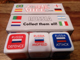 Team Russia football dice game, packet and three dice.