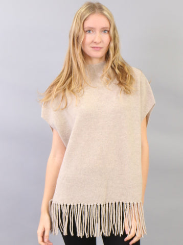 Fringed Hem Sleeveless Pullover