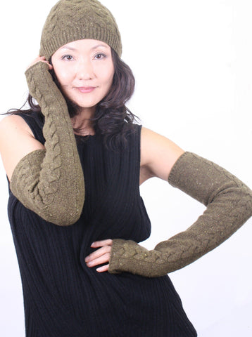 Cable-Knit Long Fingerless
