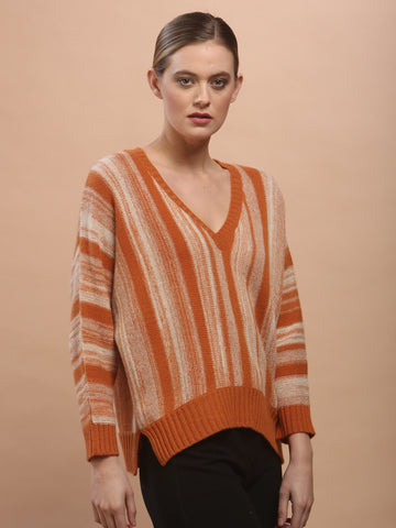 Gradient Stripe V Neck