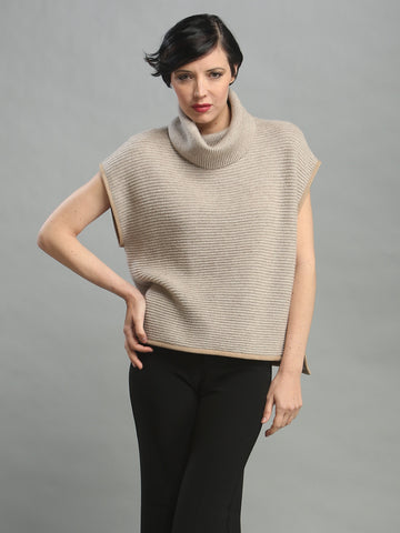 Leather Piping Turtleneck Shell