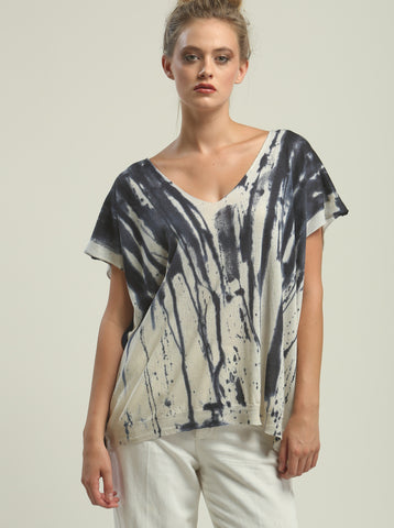 Hand Painted V neck Poncho Tee