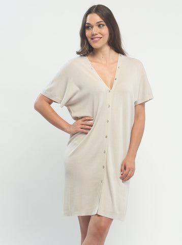 Button Down Double V Neck Dress