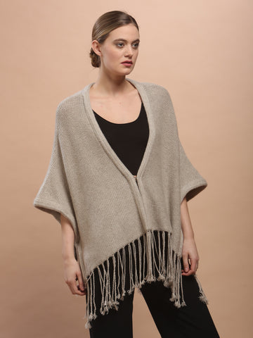 Hand Knitted Fringed Cape