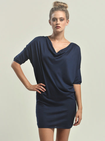 Reversible Drape Neck Tunic Dress