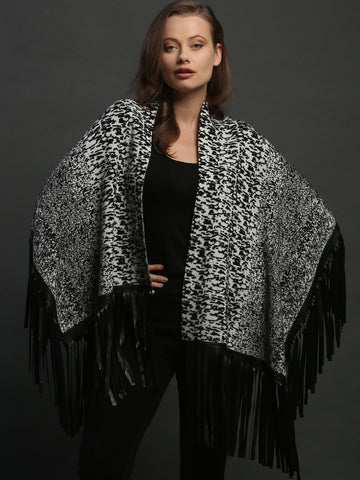 Leather Fringed Jacquard Asymmetrical Cape