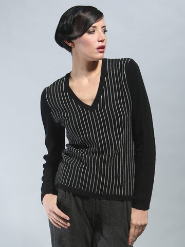 Pin Striped V Neck