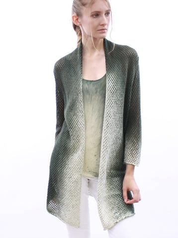 Hand Sprayed Mesh Open Front Cardigan