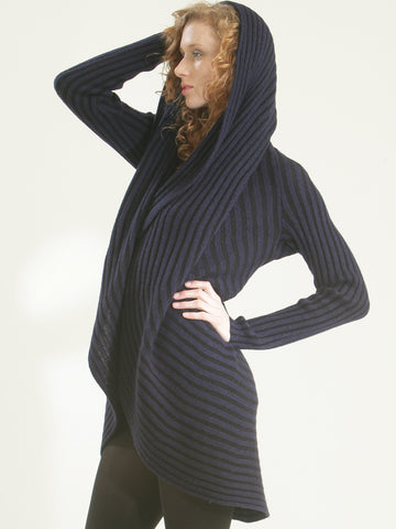 Two-Tone Ribbed Circle Cardigan