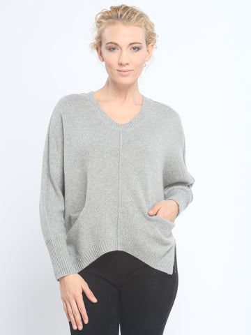 Batwing Pocket V Neck