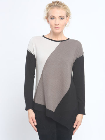 Asymmetrical Color Block Crewneck