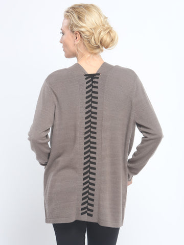 Lace Up Open Front Cardigan