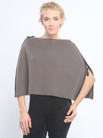 Leather Piping Zipped Crop Cape