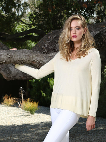 Detailed Hem V neck Pullover