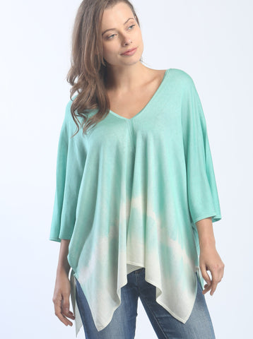 Hand Dyed Double V-Neck Poncho Tee