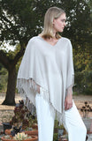 V Neck Fringed Poncho