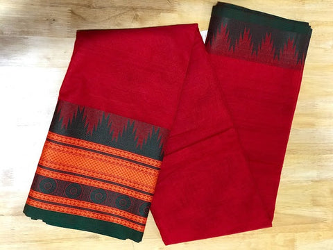 Kanchi Cotton Handwoven Saree with Multi Color Border.