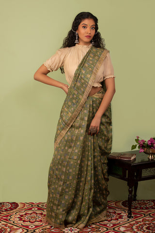 Green Ghicha Tusser Handwoven Saree with Blouse