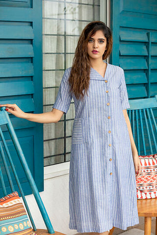 Blue Nautical White Stripe Khadi Cotton Dress.