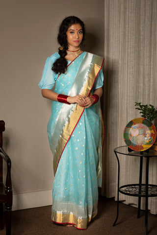 Blue  Chanderi Handwoven Saree with Blouse.