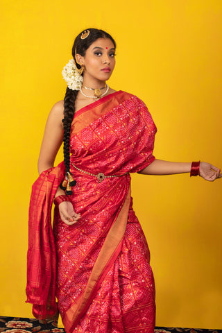 Red Ikat Handwoven Silk  Saree with Blouse.