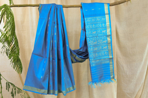 Indian Wild Tusser Pure Handwoven  Leafs Motif Saree with Blouse.