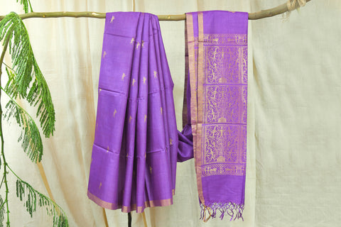 Indian Wild Tusser Pure Handwoven Tree Motif Saree with Blouse.
