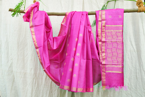 Pink Indian Wild Tusser Pure Handwoven Flower Motif Saree with Blouse