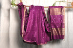 Dark Pink Indian Wild Tusser Pure Handwoven Saree with Blouse.