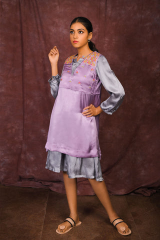 Purple-Grey modal layered dress - EARTHICA