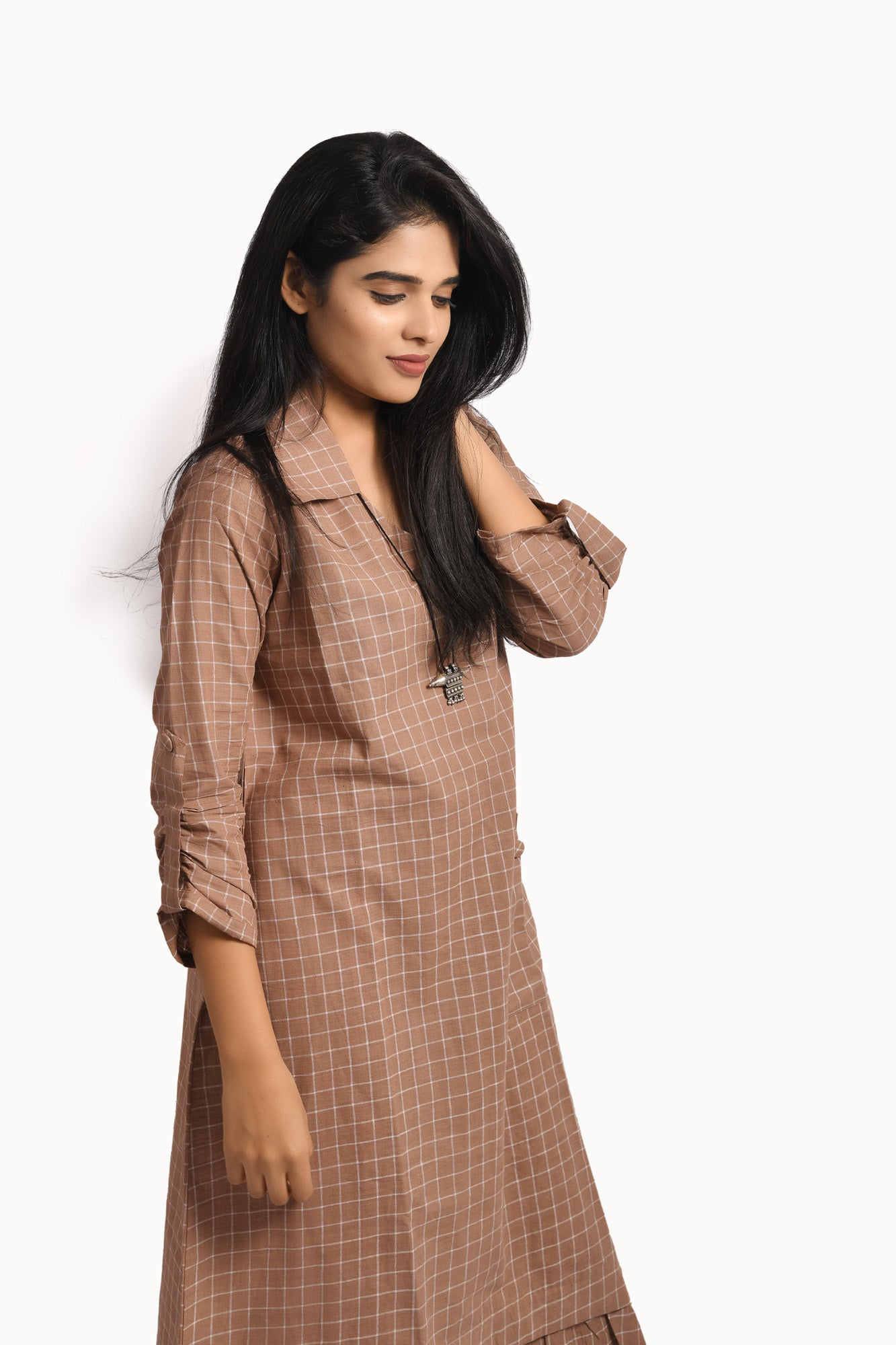 Brown khadi dress with white checks , a pocket and shirt collar - EARTHICA