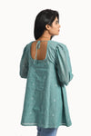 Jamdani short top with gathered sleeve in a shade of cyan - EARTHICA