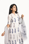 White pure cotton block print kurta set with bottom - EARTHICA