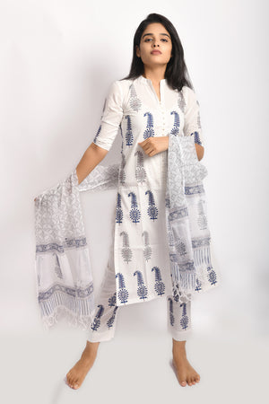 White pure cotton block print kurta set with bottom and kota dupatta