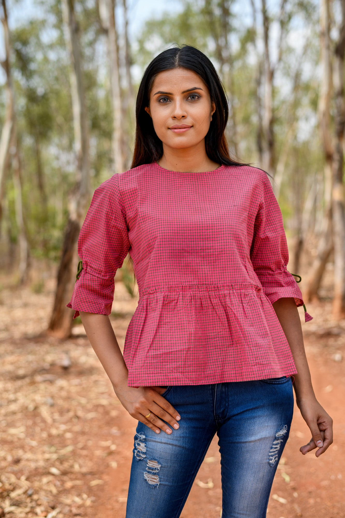 Mangalagiri pure cotton skater top with back tie ups
