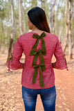 Mangalagiri pure cotton skater top with back tie ups - EARTHICA