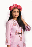 Cotton candy pink cotton block printed kurta with pants - EARTHICA