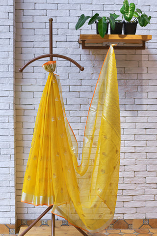 Daisy Yellow / Orange Handwoven Real Zari Kota Silk Saree with Contrast Handwoven Blouse.